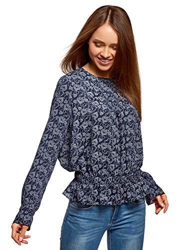 oodji Ultra Mujer Blusa Estampada con Elástico en la Cintura, Azul, ES 34 / XXS