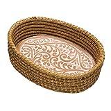 Serrv Terra Cotta Bread Warmer - Double Vine Pattern with Woven Bread Basket, Fair Trade Item