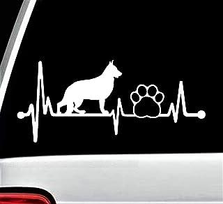 German Shepherd Pet Paw Heartbeat Lifeline Dog Decal Sticker for Car Window 8 Inch BG 139
