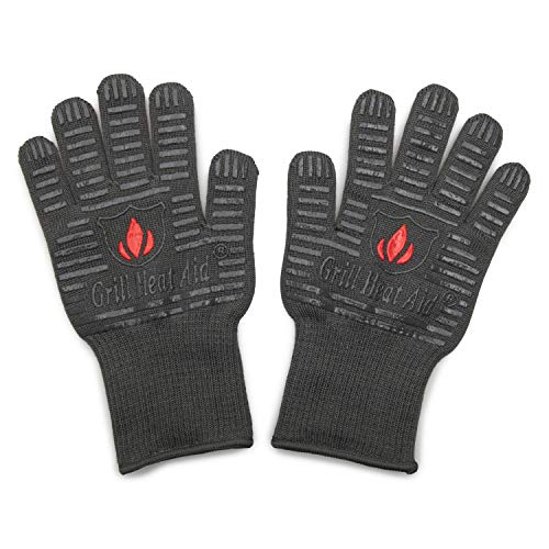 Grill Heat Aid BBQ Gloves Heat Resistant 1,472℉ Extreme. Kitchen Dexterity Handle Oven Cooking Hot Food on Cast Iron, Baking, Barbecue, Smoker. Multi-Purpose Fireproof Indoor Outdoor Use Men & Women