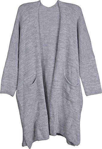 styleBREAKER Oversize Strickjacke mit aufgesetzten Taschen, Strick Long Cardigan ohne Verschluss, Strickmantel, OneSize, Damen 08010052, Farbe:Hellgrau meliert