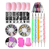 LoveOurHome Nail Art Tools Nail Stamping Plate Image Template Stamper Scraper Rhinestones Decorations Dotting Pen Water Nail Stickers Decals Holographic Nai Striping Tape Manicure Kits (Style B)