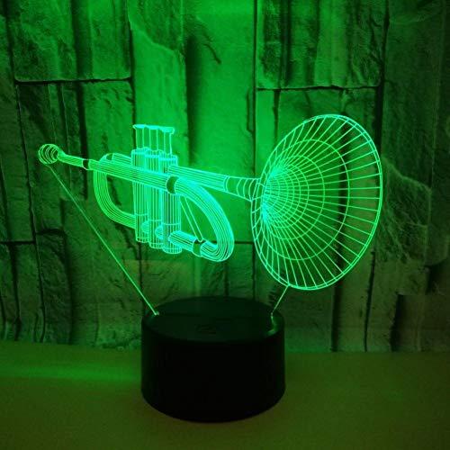 Yujzpl 3D-illusielamp Led-nachtlampje, USB-aangedreven 7 kleuren Knipperende aanraakschakelaar Slaapkamer Decoratie Verlichting voor kinderen Kerstcadeau-Trompet