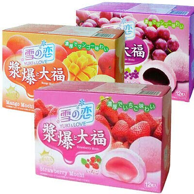 Yuki & Love Japanische Nachspeise, Schachteln mit 3 Geschmacksrichtungen, Erdbeer-, Trauben-, Mango-Mochi, Daifuku