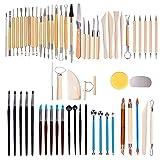 61 teilig Töpferwerkzeug Set,Hakkin Polymer Clay Keramik Ton Werkzeugsatz,die Skulptur Schnitzen Werkzeug Modellierwerkzeug Modellierset für Ton Gips Modellbau Malerei Wachs Töpfer Knetmasse