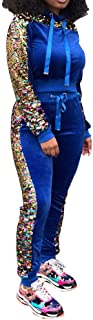 Womens Tracksuit 2 Piece Outfit - Sequin Velvet Long Sleeve Pullover Hoodie + Bodycon Pants Set Sweatsuit