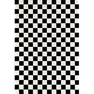 1909 Checkered Black and White 5 x 7 Area Rug Carpet