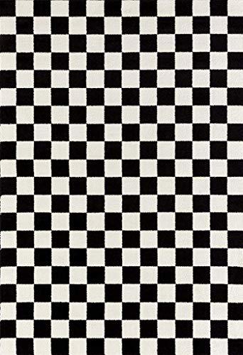1909 Checkered Black and White 5 x 7 Area Rug Carpet