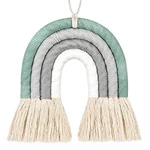 Local Woven Rainbow Wall Hanging Tassels,Rainbow Wall Hanging,Rainbow Macrame Wall Hanging for Nursery,Baby Shower Room,Baby Wall Hanging,and Home Decor(Green)