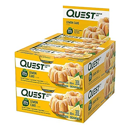 Quest Nutrition Protein Bar Oatmeal Choco Chip. Low Carb Meal Replacement Bar with 20 + Grams of Protein. High Fiber, Gluten-Free (24 Count) (Lemon Cake)