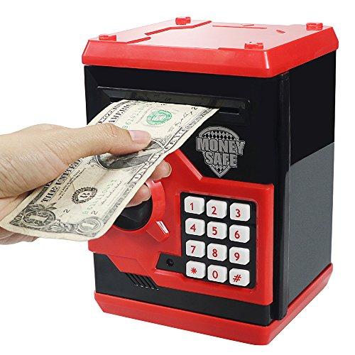 HUSAN Hucha electrónica para niños con código electrónico de cerditos, Mini cajero electrónico para Monedas ATM, Caja de Monedas, Juguete Divertido Regalo (Rojo)