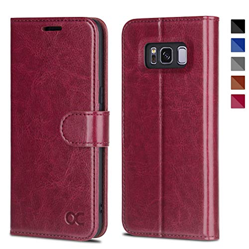 OCASE Samsung Galaxy S8 Case Leather Flip Wallet Case for Samsung Galaxy S8 Devices - Burgundy