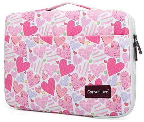 Canvaslove Loving Waterproof Corner and Bottom Rebound Bubble Cushioned Laptop Sleeve Case with Handle and Pockets for 14 inch Laptop