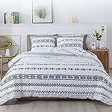 Litanika White Boho Comforter Queen(90x90lnch), 3 Pieces(1 Bohemian Comforter and 2 Pillowcases) GeometricStriped Arrow Comforter, Soft Microfiber Down Alternative Comforter Bedding Set