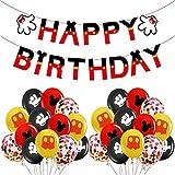 ITNP Decorazioni di Compleanno di Topolino, Topolino e Minnie Forniture per Feste,striscioni di Buon Compleanno, per Topolino Party a Tema,Compleanno, Baby Shower, Feste