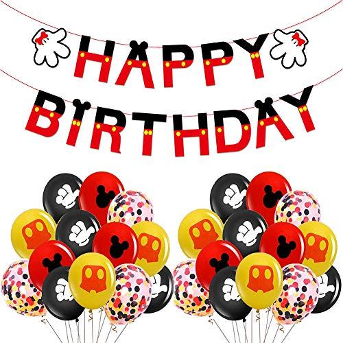 ITNP Mickey Mouse Themed Geburtstag Dekorationen, schwarz rot Mickey Balls, Happy Birthday Banner, für Minnie,Mickey Mouse Themenparty