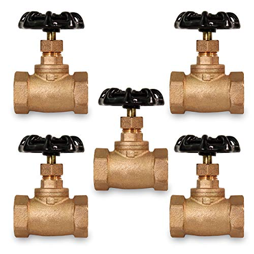 Midline Valve 95344-5 Short Globe Style Stop Valve, Lead Free 1/2 in. FIP Connections, Brass (5 Pack)
