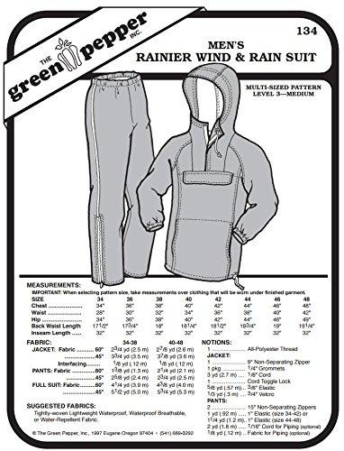 Men's Rainer Wind & Rain Suit Coat Jacket Pants #134 Sewing Pattern (Pattern Only)