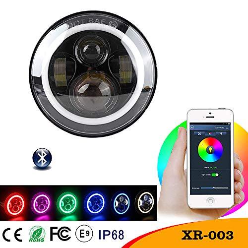 GWJ 7-Zoll-LED-Scheinwerfer, Birne RGB Halo Angel Eye Bluetooth App Steuer-Jeep, Wrangler, Harley Motorrad(1Pcs)