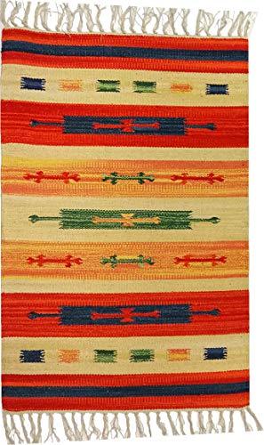 Tappeto Stuoia Passatoia 100% Cotone Kilim Indiano Etnico 6 Disegni 10 Misure ch (Disegno D, 60x280)