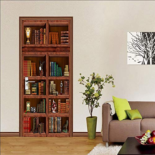 Door stickers and wall stickers, self-adhesive, waterproof and removable, home decoration wallpaper mural, bookshelf