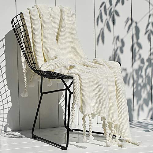 FGDSA Mantas de lana, mantas de microfibra superior peinada para la siesta de otoño e invierno, manta de sofá súper cálida para el ocio, manta de aire acondicionado, manta de borla de punto
