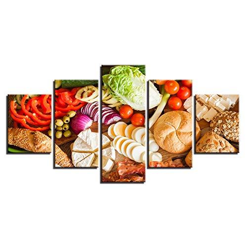 MMLFY 5 opeenvolgende schilderijen Moderne muurkunst schilderijen voor de woonkamer 5 panelen groente brood levensmiddelen schilderij doek modulaire decoratie wooncultuur