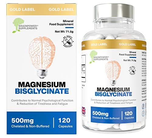 Magnésium Bis Glycinate | Dose de 1000mg / Gélules de 500mg | 120 gélules / 60 doses (2 mois) | Meilleure biodisponibilité | Sans Stéarate de Magnésium ni agents de remplissage