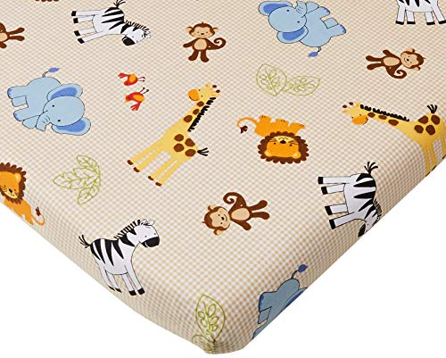 Bedtime Originals Jungle Buddies Sheet, Brown/Yellow