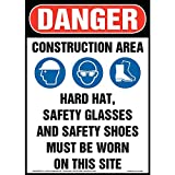 Danger: Construction Area, PPE Must Be Worn Sign - J. J. Keller & Associates - 10' x 14' Plastic with Rounded Corners for Indoor/Outdoor Use - Complies with OSHA 29 CFR 1910.145 and 1926.200
