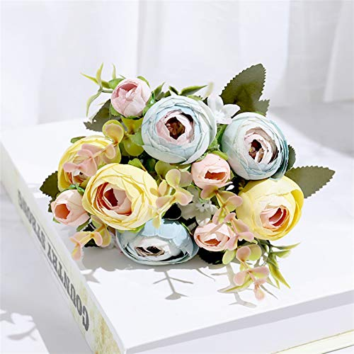 TRRT Kunstblumen Seidenrosen Künstliche Blumen Braut Kleine Blumenstrauß, Für Heimzeit Hochzeit Weihnachtsdekoration Hohe Qualität Plastik Gefälschte Blumen Dekor Ewige Rosen