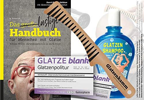 Das ULTIMATIVE Glatzen Geschenkset (4-teilig) | Glatzenbuch, Glatzen-Kamm, Glatzen-Politur & Glatzen-Shampoo | Geburtstags-Geschenk | Erste Hilfe Set Glatzenträger, witzige Geschenkidee | 4-teilig