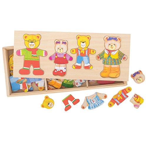 Bigjigs Toys - Vestir a la Familia Oso, Puzzle de Madera (BIBJ766)