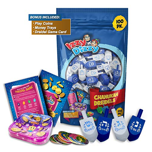Izzy 'n' Dizzy Hanukkah Dreidels - Blue and White Wooden Dreidel - 100 Pack Medium - Dreidels in Bulk - Hand Painted - Game Instructions Included