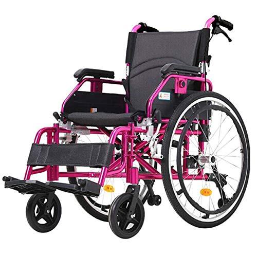 SXFYGYQ Silla de Ruedas Ligera Reposabrazos Plegable Altura Ajustable y Rueda antivuelco para Las sillas de Ruedas de Aluminio para Ancianos