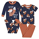 Gerber Baby Boys' 4-Piece Pajama Set, Fox Grey, 5T