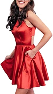Jonlyc High Neck A Line Keyhole Back Satin Short Homecoming Dresses with Pockets