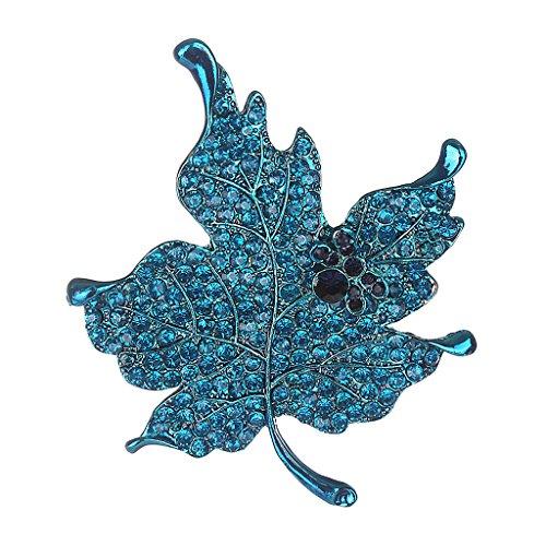kowaku Broche de Cristal Rhinestone Hoja de Arce Joyería de Disfraces Mujeres - Azul