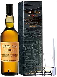 Caol Ila 18 Jahre Islay Single Malt Whisky 0,7 Liter  2 Glencairn Gläser und Einwegpipette