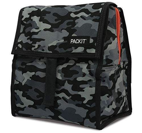 PackIt Freezable Lunch Bag with Zip Closure, Charcoal Camo