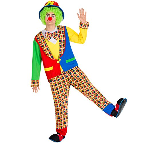 TecTake dressforfun Herrenkostüm Clown | Kostüm + Clown-Nase & Schlapphut mit Filzblume | Harlekin Clown-Kostüm Fasching (XL | Nr. 300841)