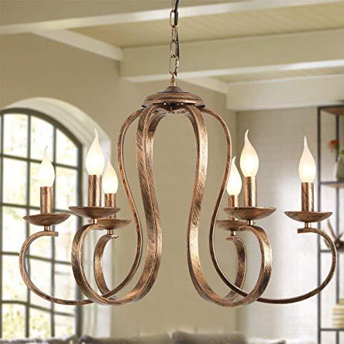 Ganeed Candelabros de bronce, candelabro colgante de hierro retro, luz colgante rústica con vela de 6 luces, lámpara de techo de granja industrial, iluminación de isla de cocina de altura ajustable