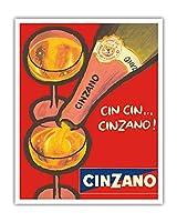 チンザノ - アスティ - イタリアのスパークリングワイン - ビンテージな広告ポスター c.1970 - アートポスター - 41cm x 51cm