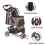 comiga Pet Stroller, 3-Wheel Cat Stroller, Foldable Dog Stroller with Removable Liner and Storage Basket, for Small-Medium Pet,Coffee 12