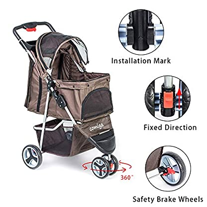 comiga Pet Stroller, 3-Wheel Cat Stroller, Foldable Dog Stroller with Removable Liner and Storage Basket, for Small-Medium Pet,Coffee 5