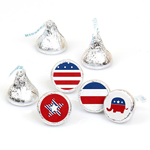 Election (R) - Political Party Round Candy Sticker Favors - Labels Fit Hershey's Kisses (1 sheet of 108)