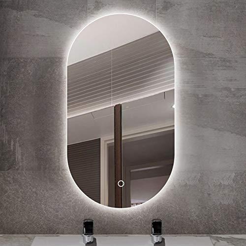 JHNEA Espejo baño, Espejo Baño Pared Espejo con Luz LED Interruptor Táctil Espejo Colgante para Baño Dormitorio Salón, luz Blanca fría, Esquinas Redondeadas, más seguras,Single Switch_24x36inch