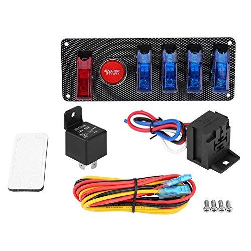 KIMISS Conjunto de interruptor de encendido,6-en-1 12V Panel de interruptor de ignición del coche de carreras, Kit de control del botón de inicio del motor