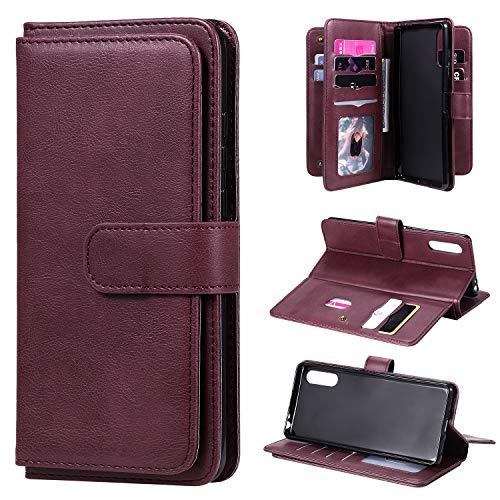 Snow Color Sony Xperia L4 Hülle, Premium Leder Tasche Flip Wallet Case [Standfunktion] [Kartenfächern] PU-Leder Schutzhülle Brieftasche Handyhülle für Sony Xperia L4 - COKT020454 Rotwein