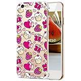 OKZone Cover iPhone 6S / iPhone 6 (4,7 Pollici) [con Pellicola Proteggi Schermo], Custodia Gel Trasparente Morbida Silicone Sottile TPU Cover Protettiva Compatibile con Apple iPhone 6S 6 (Fragole)